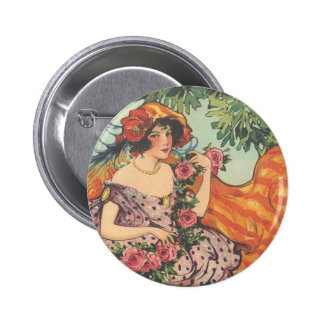 Roses and Peacock Feathers Pinback Button