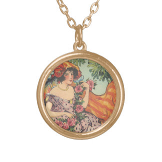 Roses and Peacock Feathers Round Pendant Necklace
