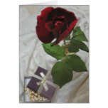 Roses and pearls 2 greeting card
