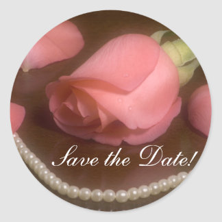 Roses and Pearls Classic Round Sticker