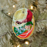 Roses and Pearls Happy Holidays Ceramic Ornament
