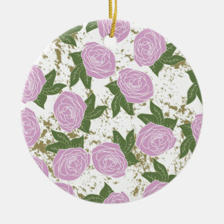 roses and peeling paint ceramic ornament