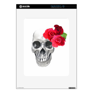 Roses and Skull Skin For iPad