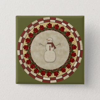 Roses and Snowmen Pinback Button