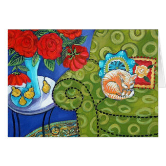 Roses and Strawberry Cat Card