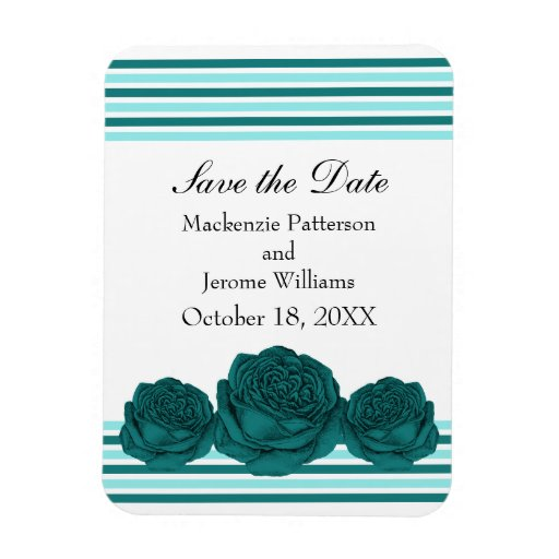 Roses and Stripes Save the Date Magnet, Teal Rectangular Photo Magnet