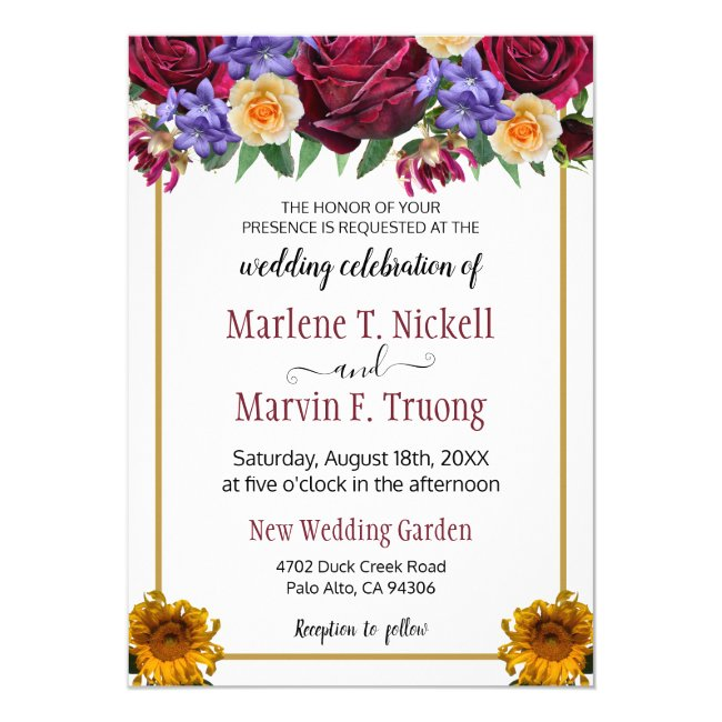 Roses and Sunflower Burgundy Gold Frame Wedding Invitation