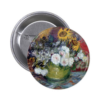 Roses and Sunflowers by Van Gogh Button