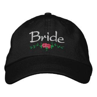 Roses and Vines Embroidered Bridal Wedding Cap Baseball Cap