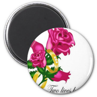 Roses and Wedding Bands 2 Inch Round Magnet