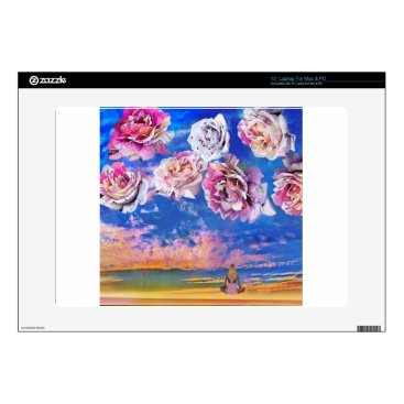 """Beach Themed Roses are flying through the sky. 15"""" laptop decal"""