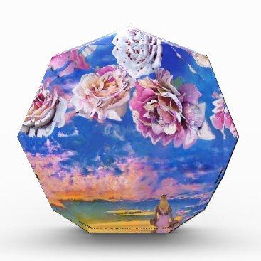 Beach Themed Roses are flying through the sky. acrylic award