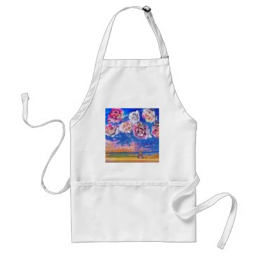 Beach Themed Roses are flying through the sky. adult apron