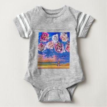Beach Themed Roses are flying through the sky. baby bodysuit