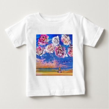 Beach Themed Roses are flying through the sky. baby T-Shirt