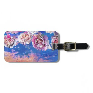 Beach Themed Roses are flying through the sky. bag tag