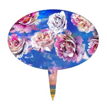 Beach Themed Roses are flying through the sky. cake topper