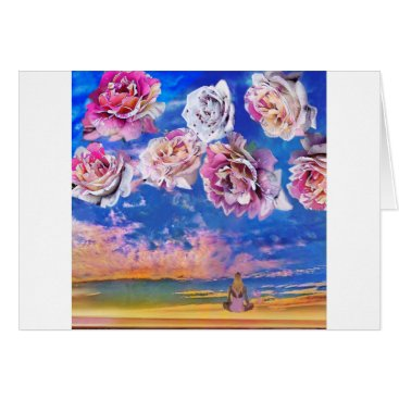 Beach Themed Roses are flying through the sky. card