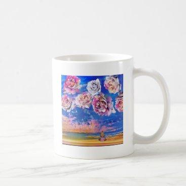 Beach Themed Roses are flying through the sky. coffee mug