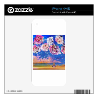 Roses are flying through the sky. decal for the iPhone 4