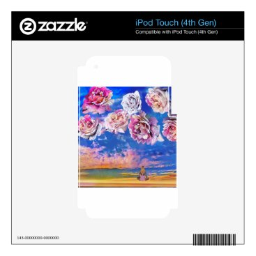 Beach Themed Roses are flying through the sky. iPod touch 4G decal