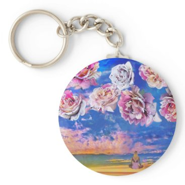 Beach Themed Roses are flying through the sky. keychain