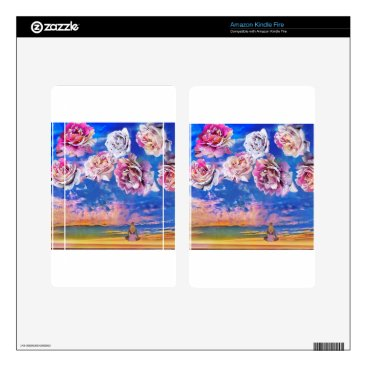 Beach Themed Roses are flying through the sky. kindle fire decals