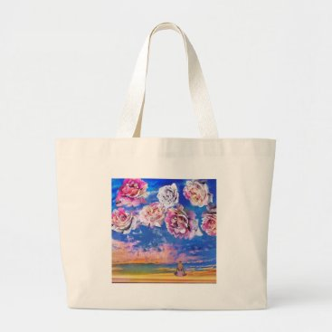 Beach Themed Roses are flying through the sky. large tote bag