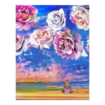 Beach Themed Roses are flying through the sky. letterhead