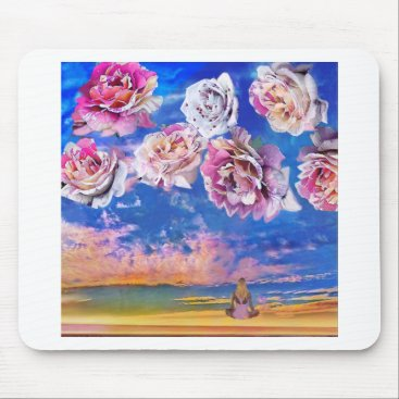 Beach Themed Roses are flying through the sky. mouse pad