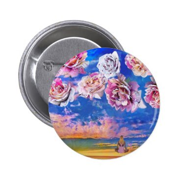 Beach Themed Roses are flying through the sky. pinback button