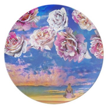 Beach Themed Roses are flying through the sky. plate