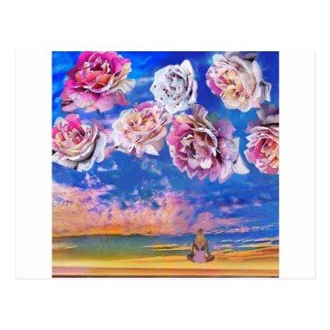 Beach Themed Roses are flying through the sky. postcard