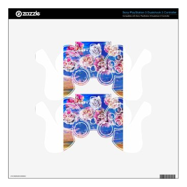 Beach Themed Roses are flying through the sky. PS3 controller decal