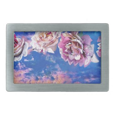 Beach Themed Roses are flying through the sky. rectangular belt buckle