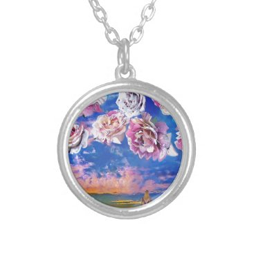 Beach Themed Roses are flying through the sky. silver plated necklace