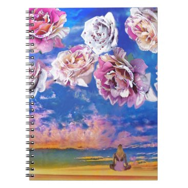 Beach Themed Roses are flying through the sky. spiral notebook