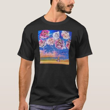 Beach Themed Roses are flying through the sky. T-Shirt