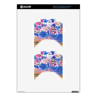 Beach Themed Roses are flying through the sky. xbox 360 controller skin