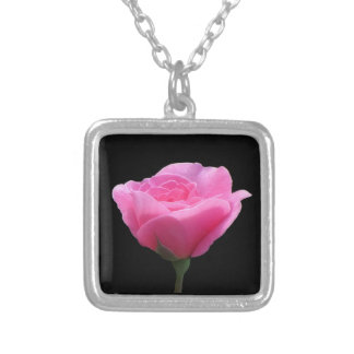 Roses are Pink - on Black Silver Plated Necklace