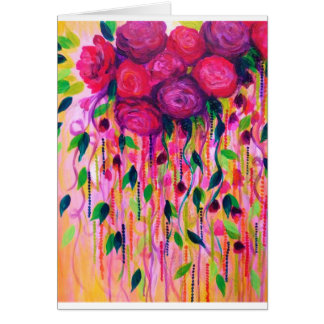 ROSES ARE RAD 2- Bold Pink Red Roses Floral Bouque Card