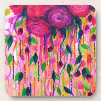 ROSES ARE RAD 2- Bold Pink Red Roses Floral Bouque Coaster