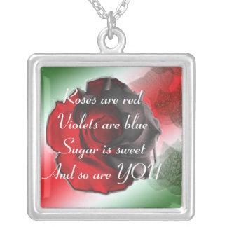 Roses are red square pendant necklace