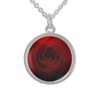Roses Are Red Round Pendant Necklace