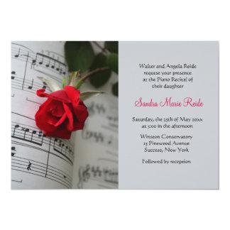Roses Are Red Piano Recital Invitation