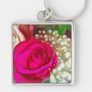Roses Are Red Pink Fuschia Artistic & Unique Silver-Colored Square Keychain