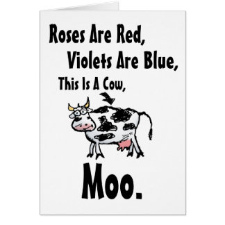 Roses Are Red-This Is A Cow-Blank Inside Greeting Card