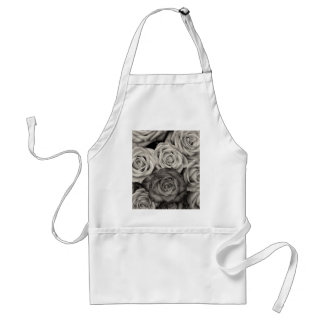 ROSES, Black and White Photo Adult Apron