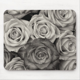 ROSES, Black and White Photo Mouse Pad
