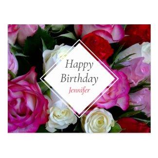 Roses Bouquet Happy Birthday Postcard